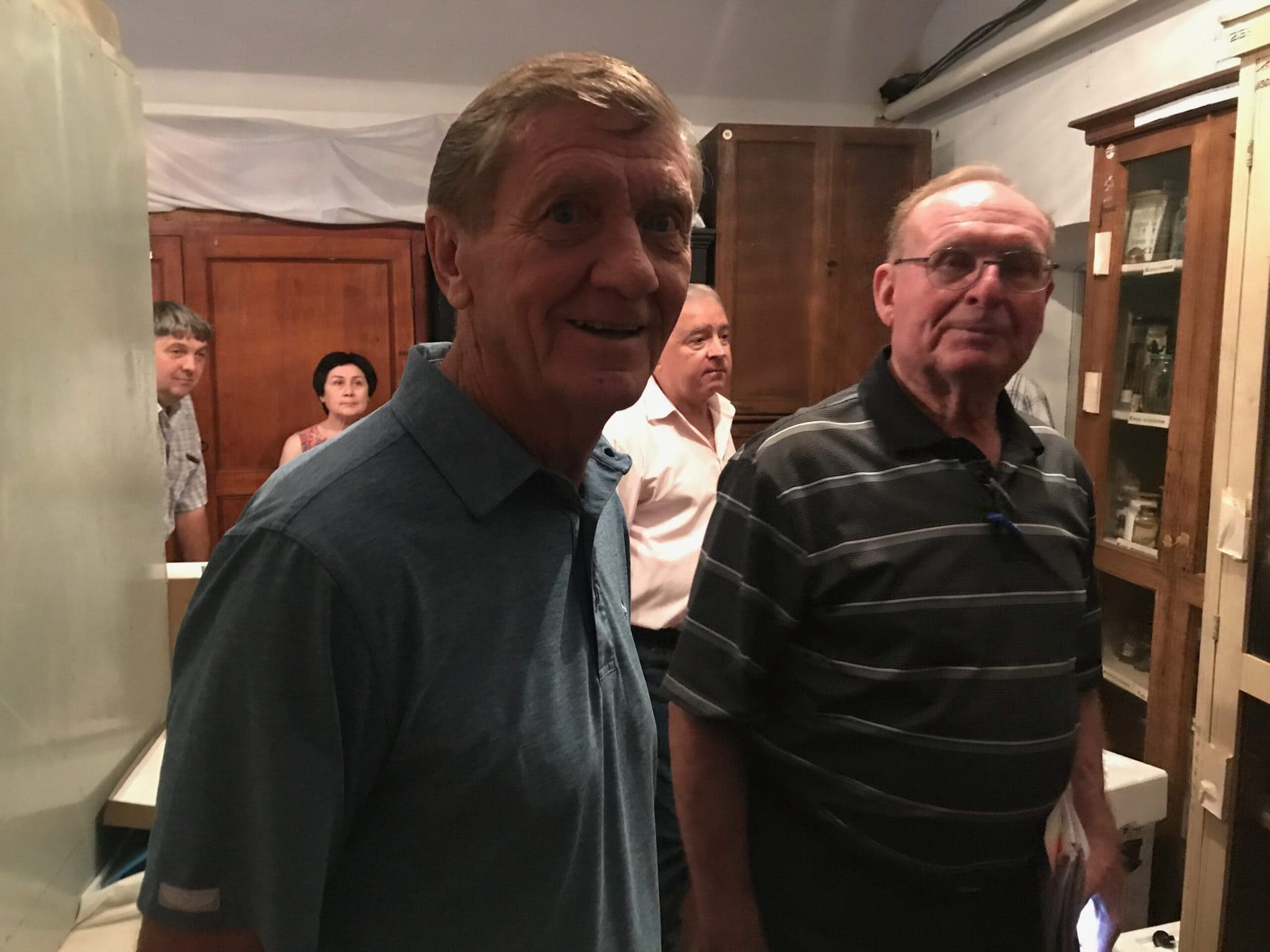 Bill and Walter Martel in the museum basement where Emil slept while in the prison camp